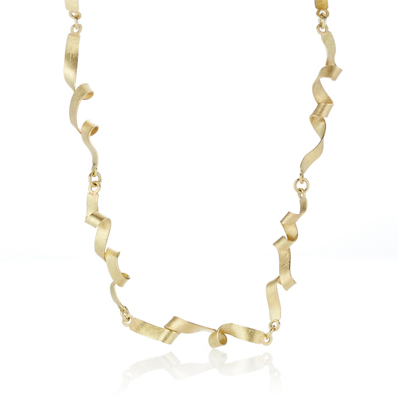 Petra Class Textured Scribble Link Gold Necklace