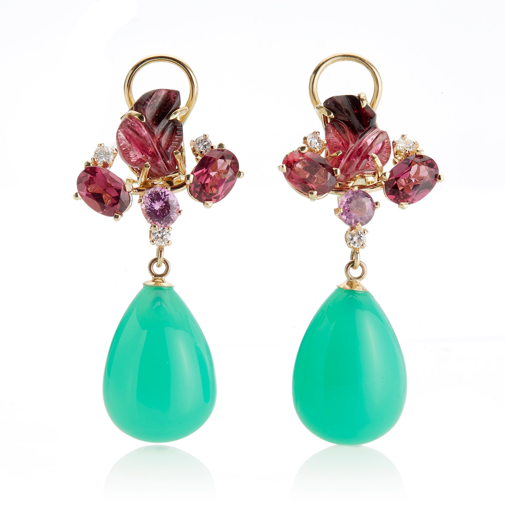 Russell Trusso Pink Tourmaline, Sapphire, Diamond & Chrysoprase Drop Earrings