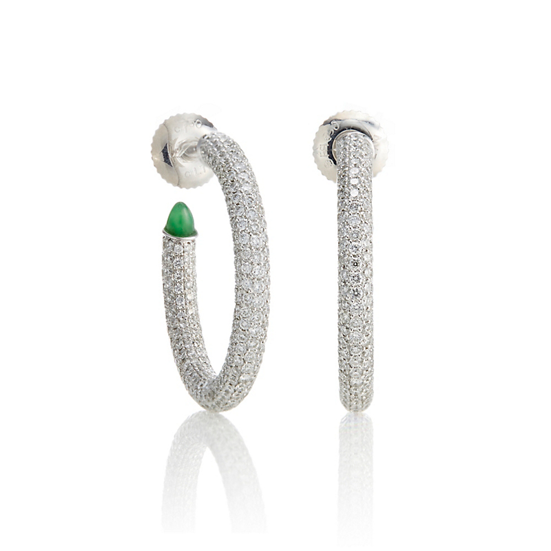 Pavé Diamond & Green Jadeite Cabochon Hoop Earrings