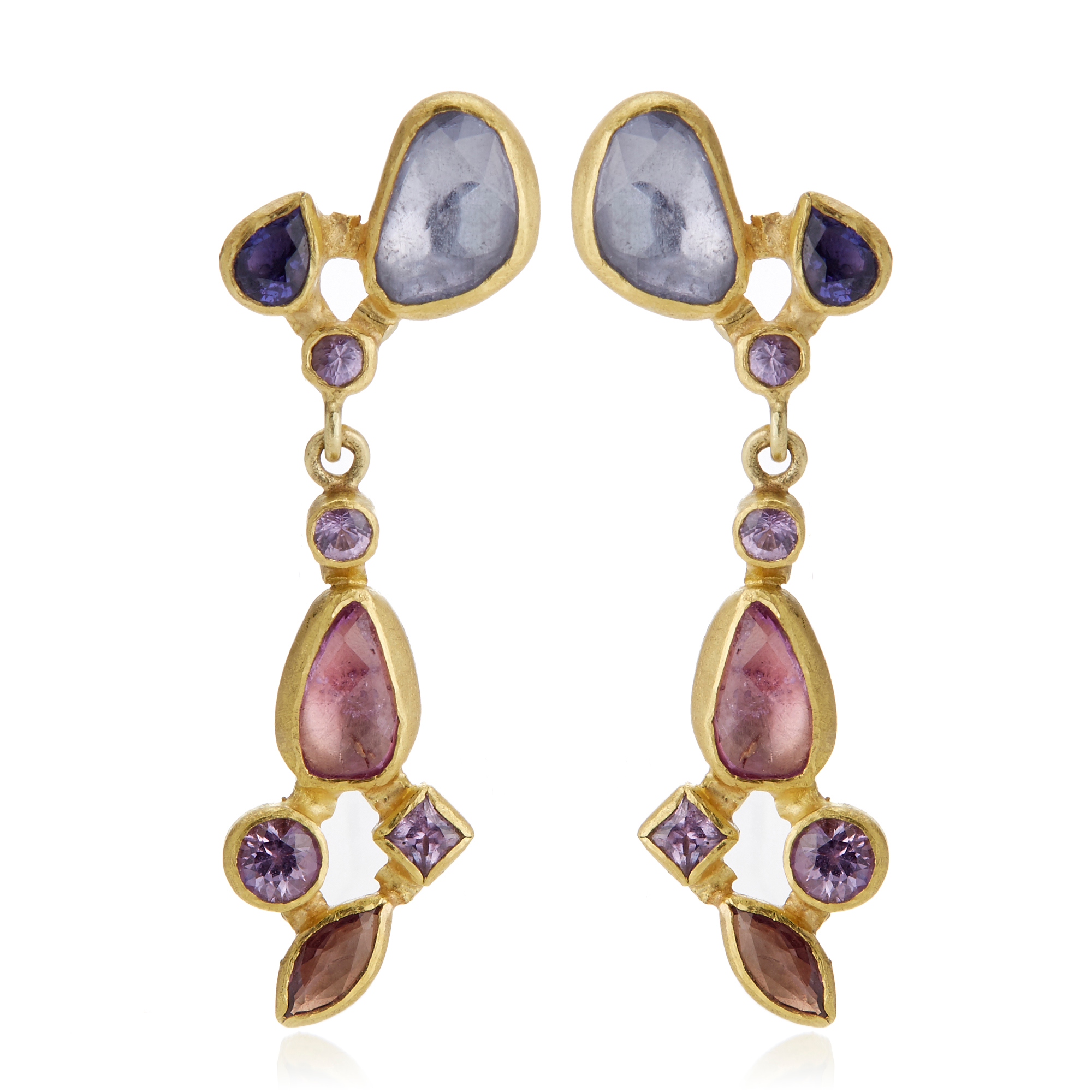 Petra Class Multicolor Sapphire Cluster Drop Earrings