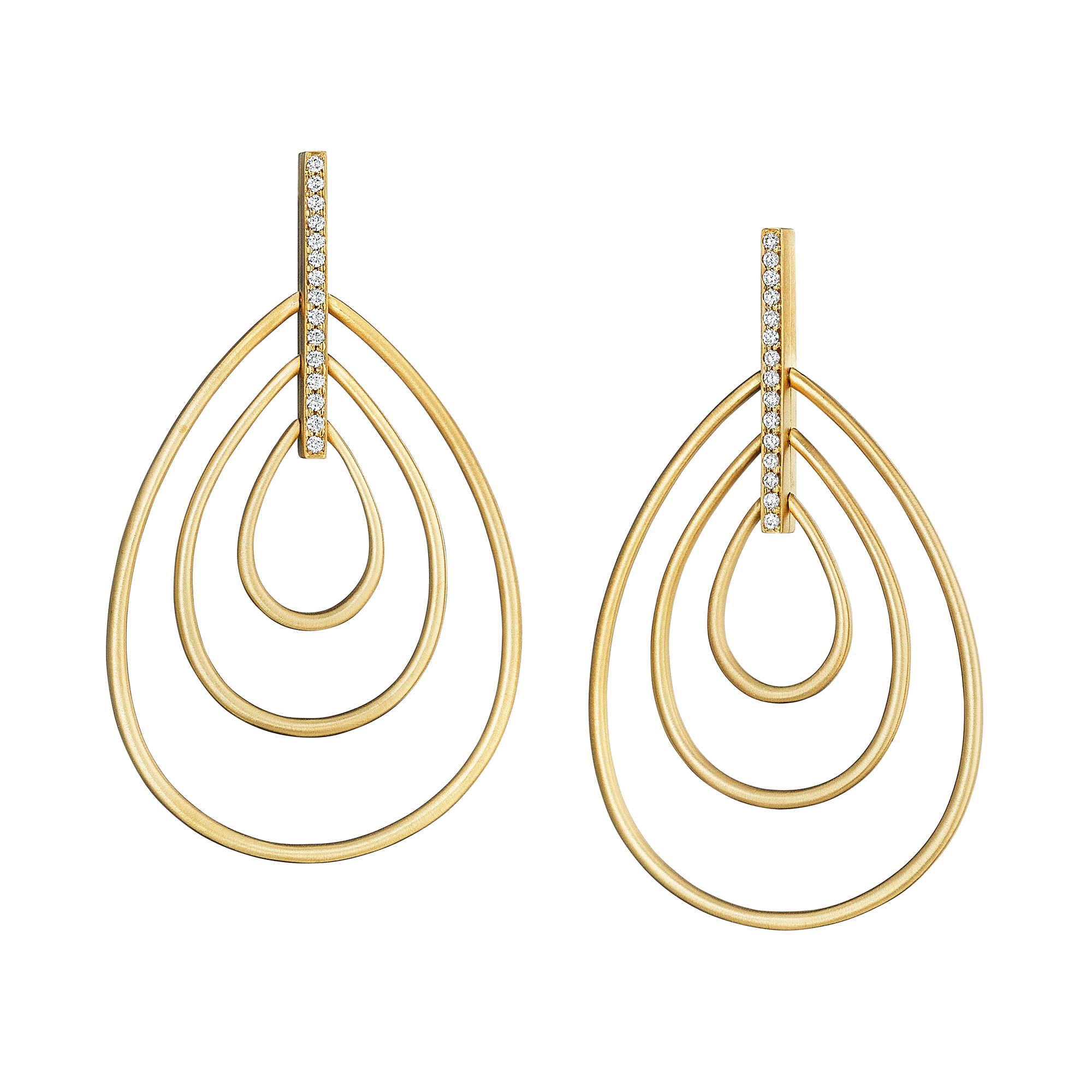 Carelle Diamond Trio Moderne Drop Earrings