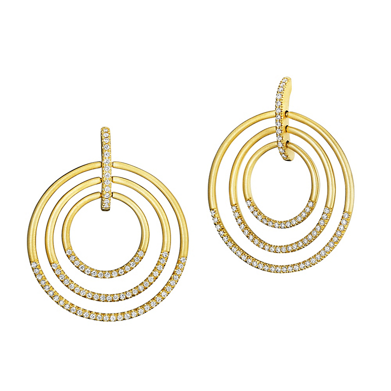 Carelle Diamond Trio Moderne Circle Earrings