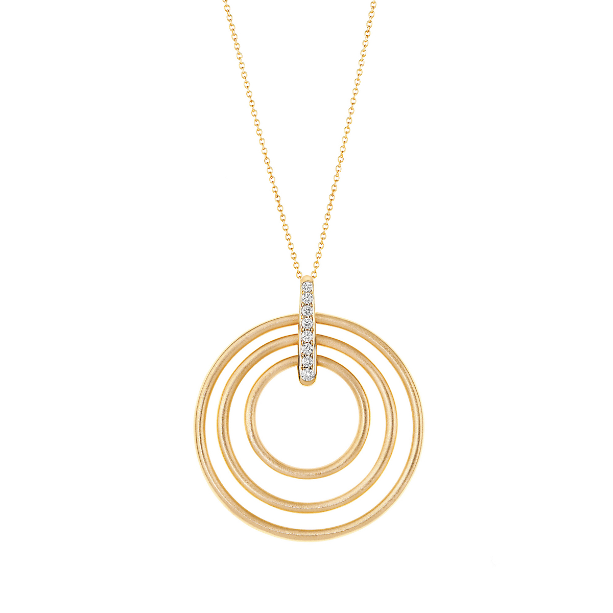 Carelle Diamond Trio Moderne Circle Necklace