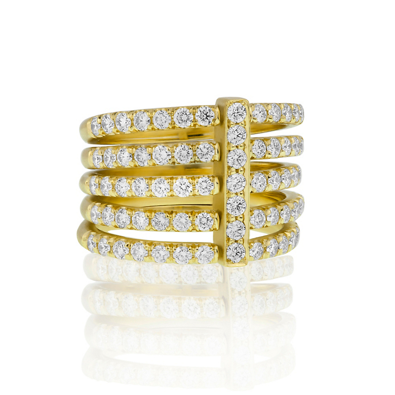 Carelle Pavé Diamond Moderne Penta Ring