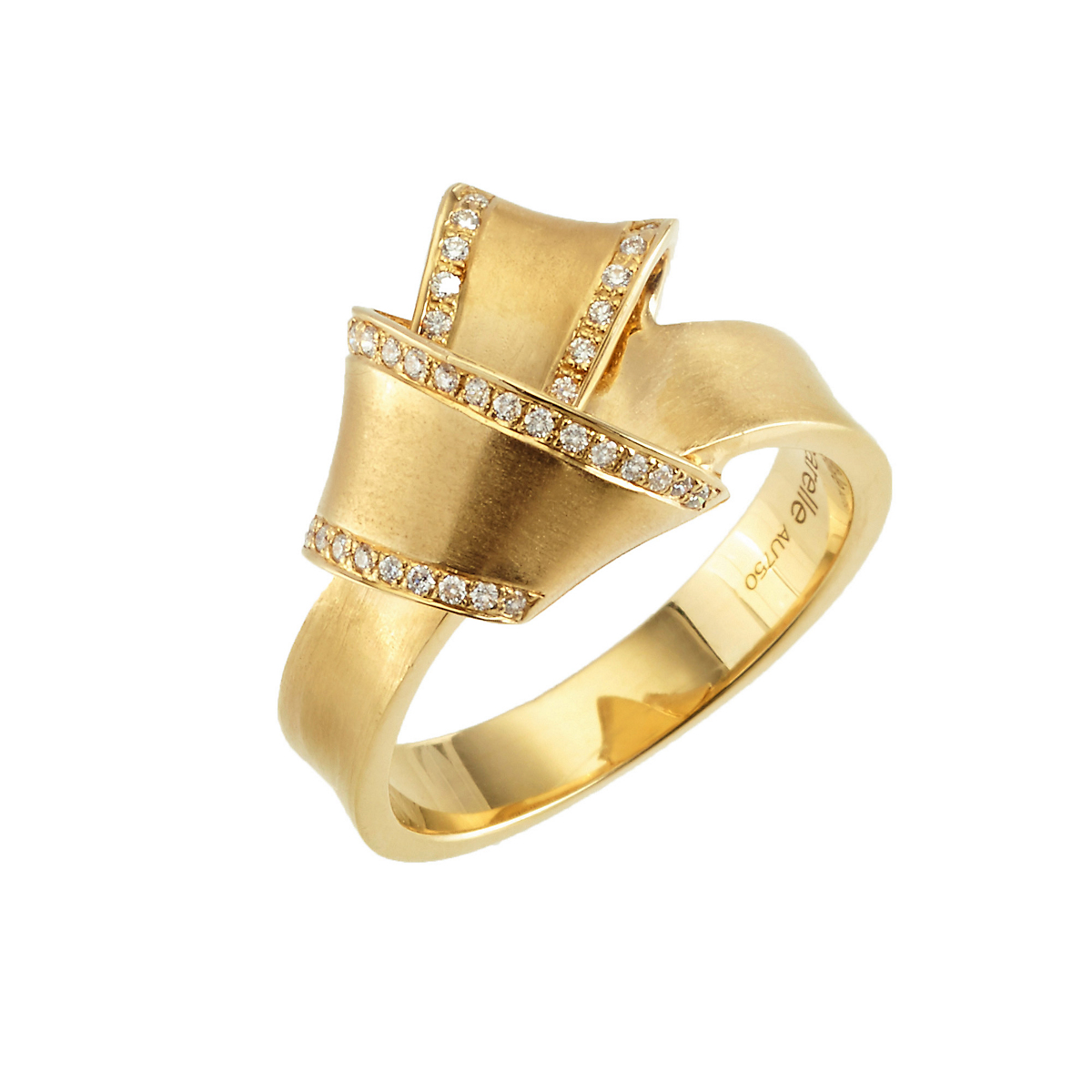 Carelle Pavé Diamond Yellow Gold Knot Ring
