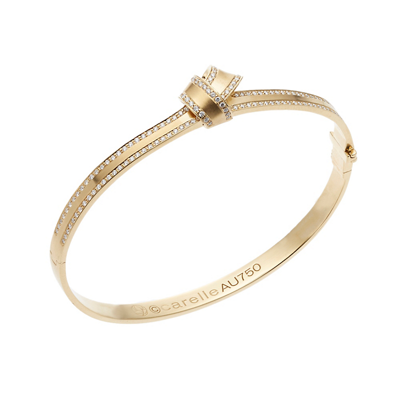 Carelle Pavé Diamond Yellow Gold Knot Bangle