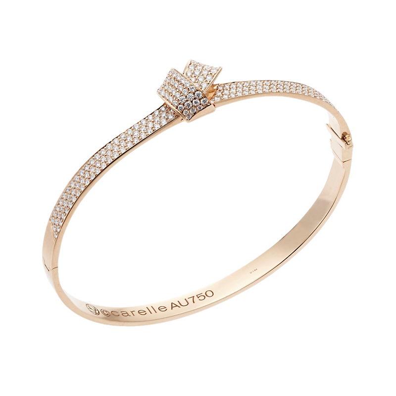 Carelle Pavé Diamond Rose Gold Knot Bangle