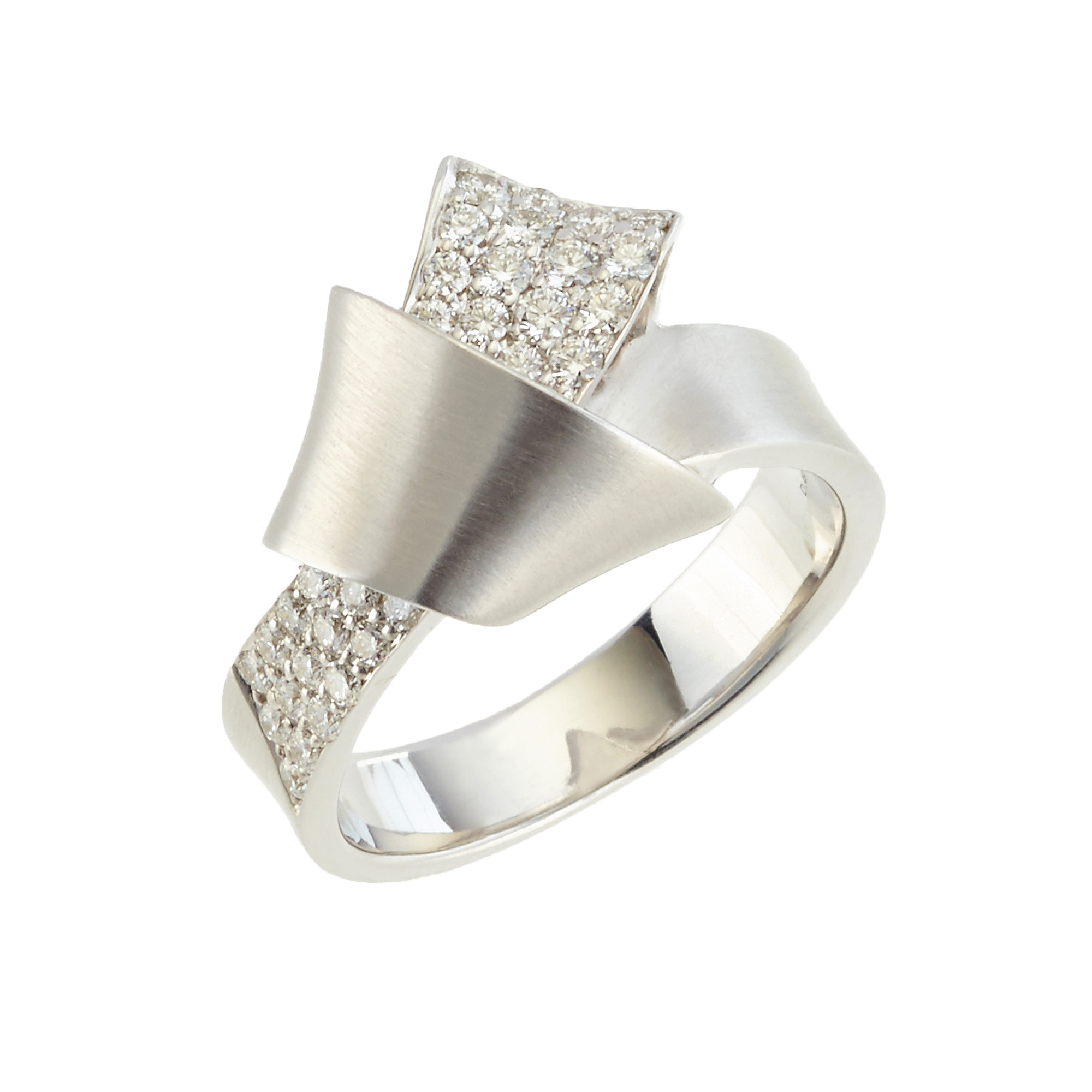 Carelle Pavé Diamond White Gold Knot Ring