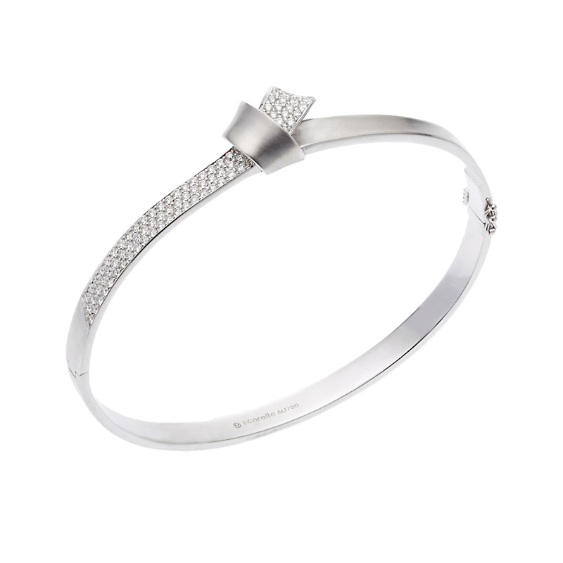 Carelle Pavé Diamond White Gold Knot Bangle