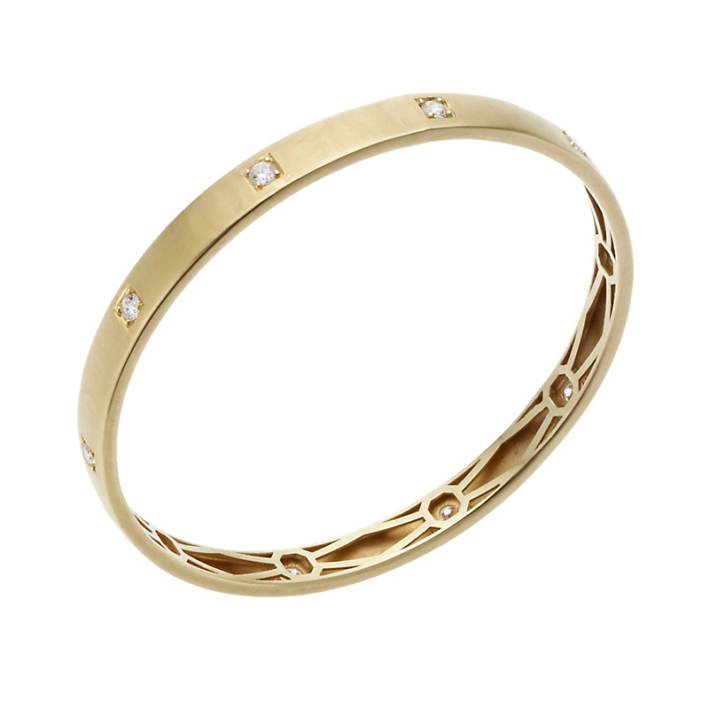 ILA Sequin Diamond and Gold Bangle