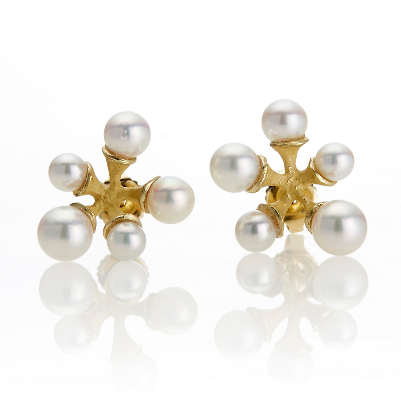John Iversen Pink Akoya Pearl Micro Jack Earrings