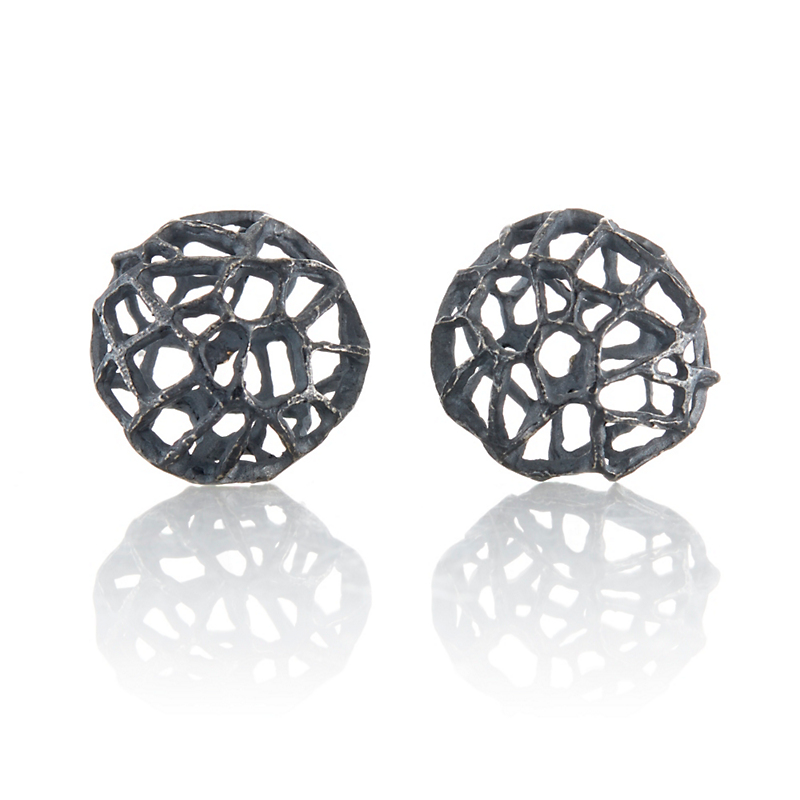 John Iversen Oxidized Sterling Silver Basket Earrings