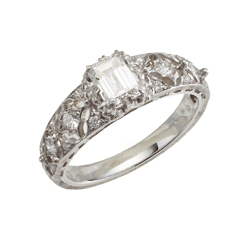 Buccellati Diamond Emerald-Cut Antiope Ring