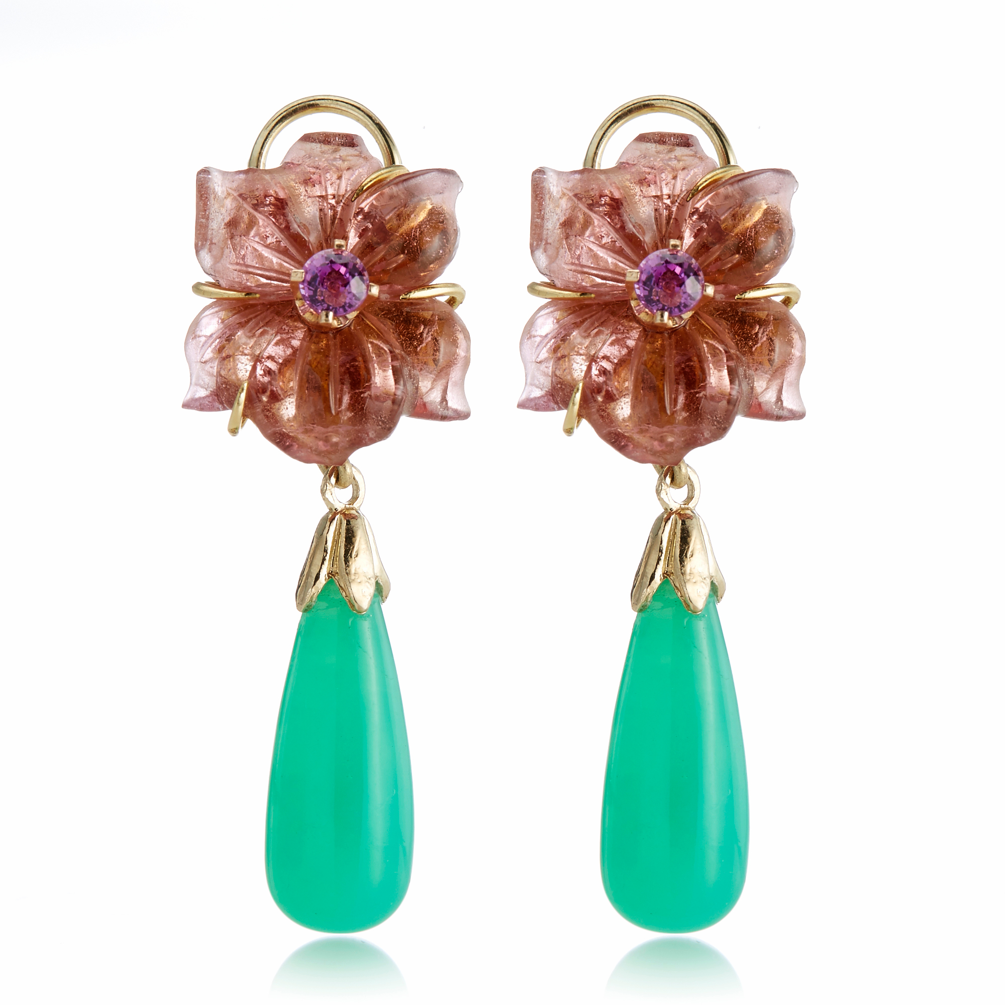 Russell Trusso Tourmaline Flowers With Sapphires & Chrysoprase Drops