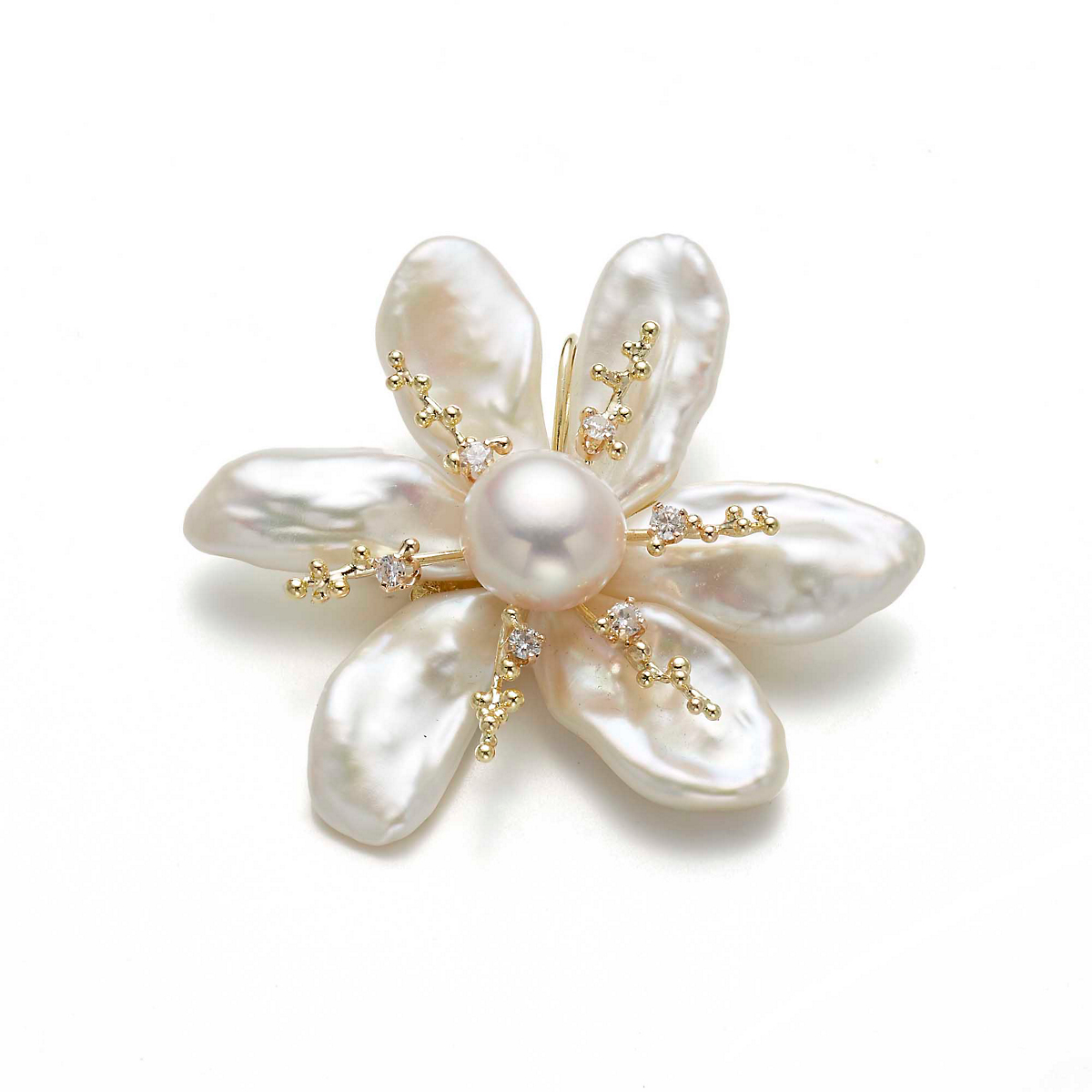 Russell Trusso Elongated Pearl & Diamond Flower Brooch