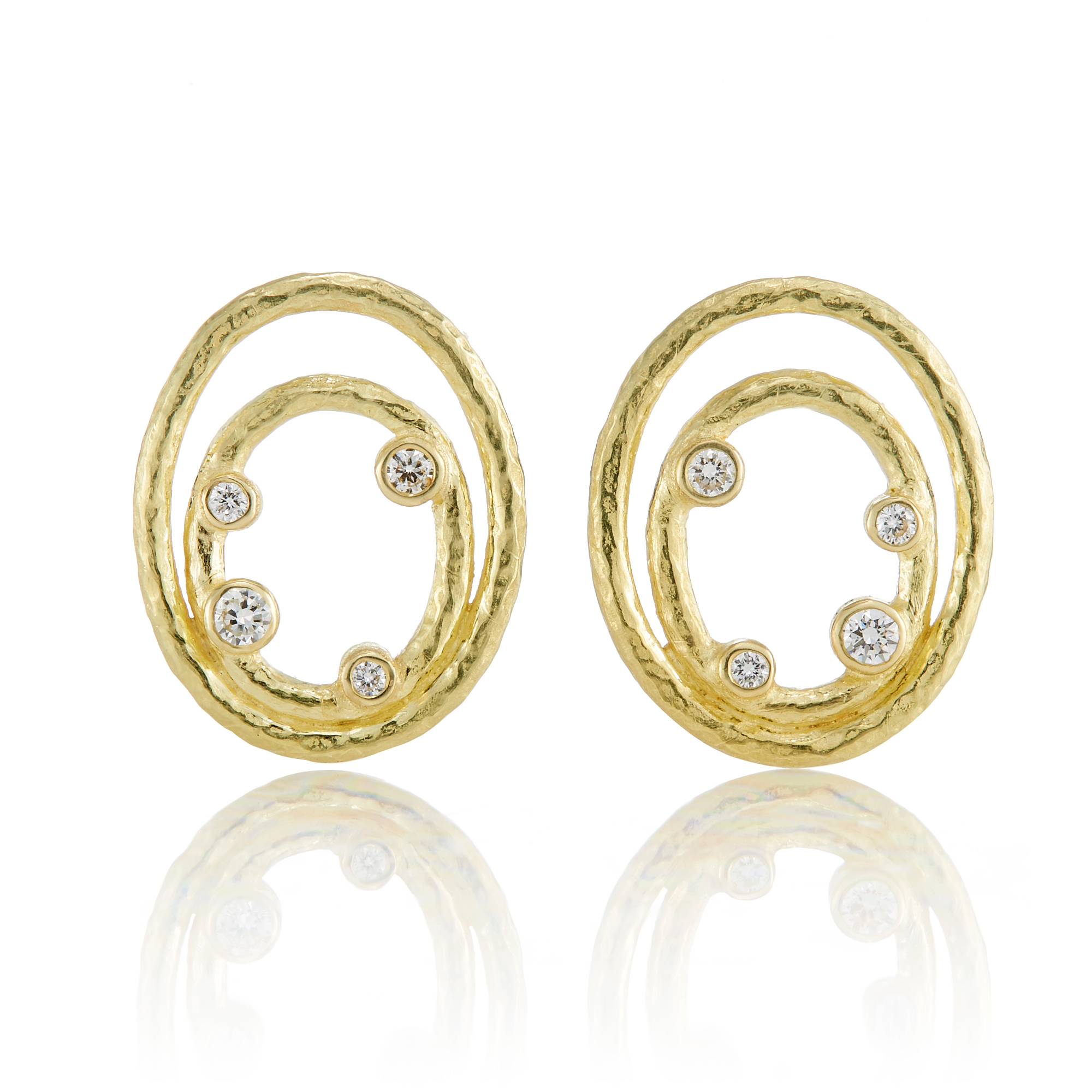 Barbara Heinrich Hammered Textured Double Oval & Diamond Earrings