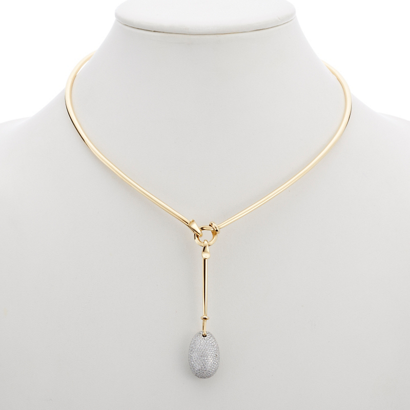 Georg Jensen Pavé Diamond Dew Drop Gold Pendant