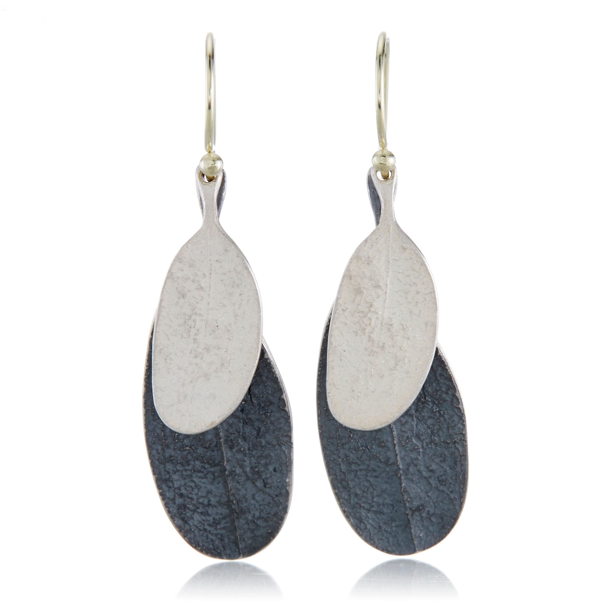 John Iversen Oxidized and White Sterling Silver Duo Leaf Earrings