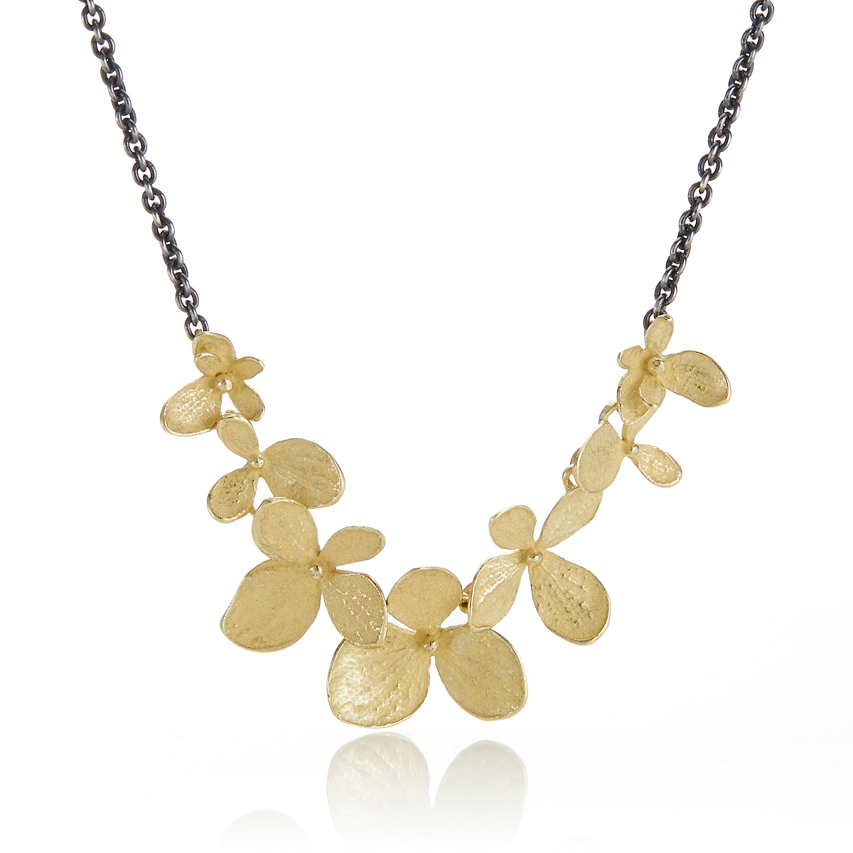 John Iversen Gold and Oxidized Sterling Silver Multi Hydrangea Necklace
