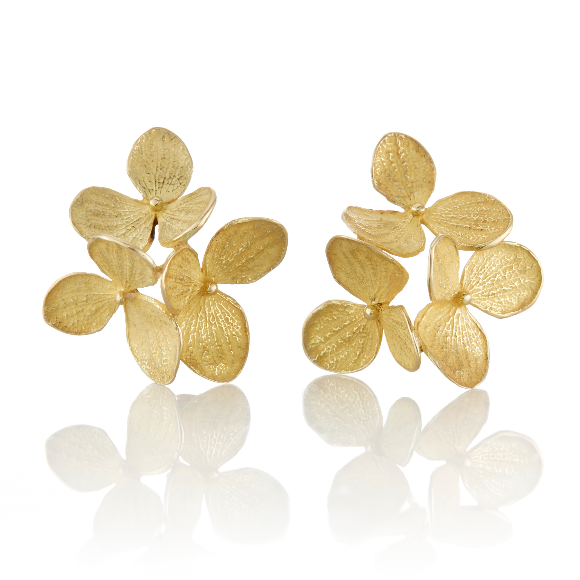John Iversen Gold Trio of Hydrangea Earrings