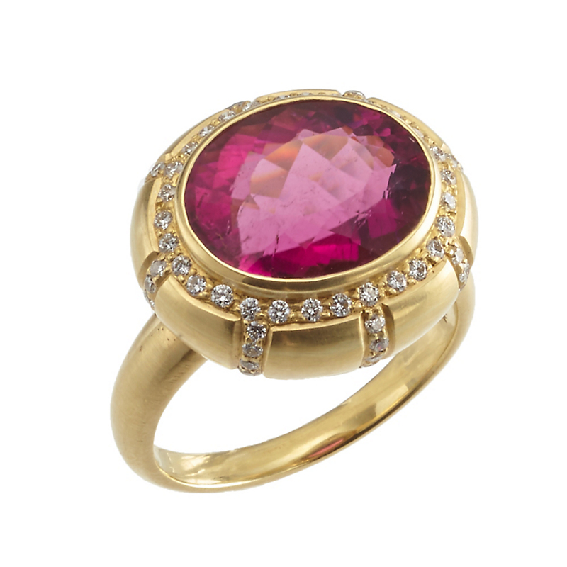 Kothari Rubellite Tourmaline and Diamond Sunburst Ring