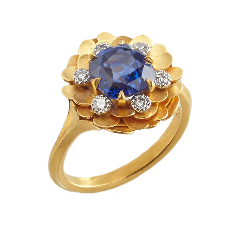 McTeigue & McClelland Flora Bouquet Sapphire and Diamond Gold Ring