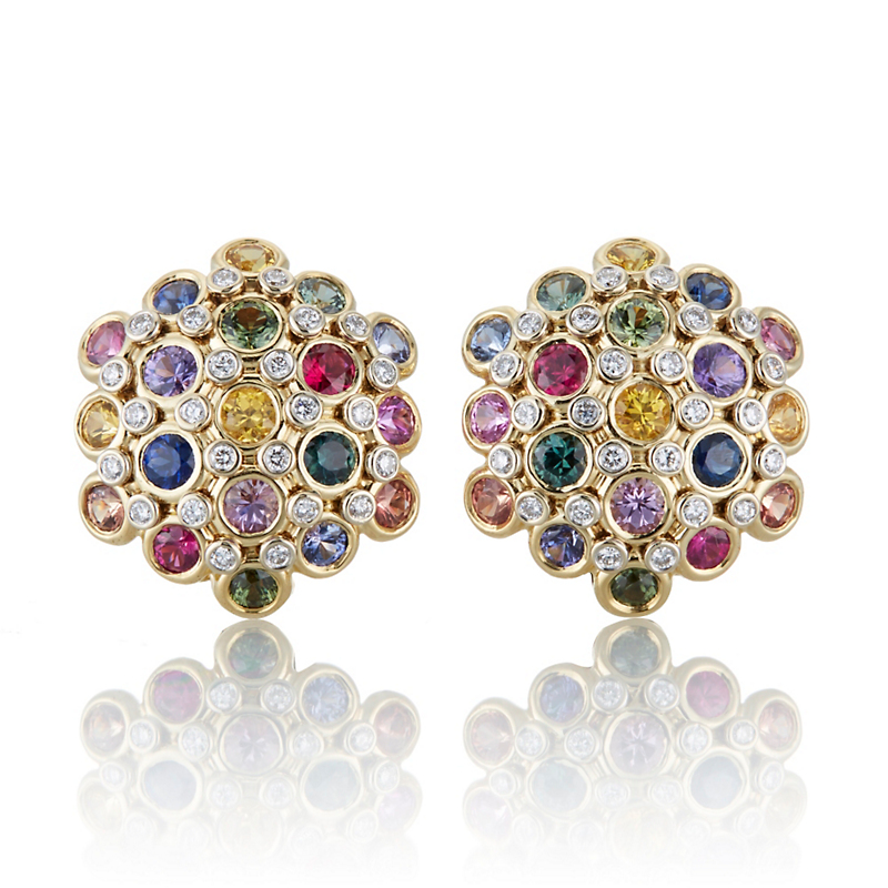 Aaron Henry Multi-Color Sapphire and Diamond Cluster Earrings