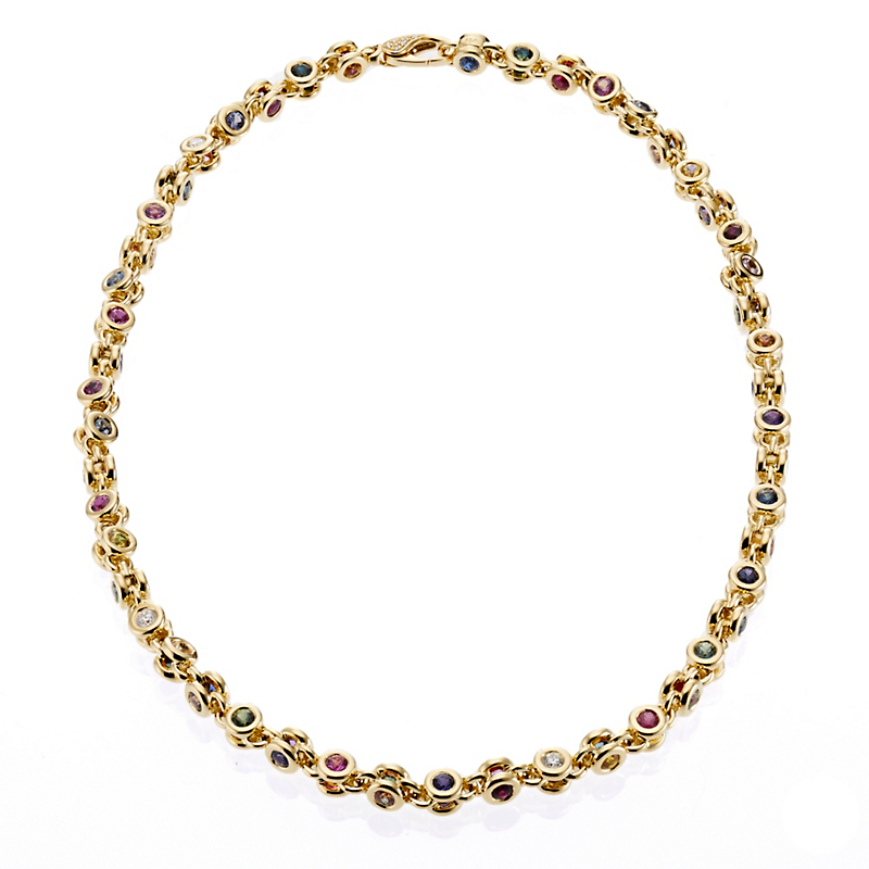 Aaron Henry Celebration Multi-Color Sapphire and Diamond Necklace