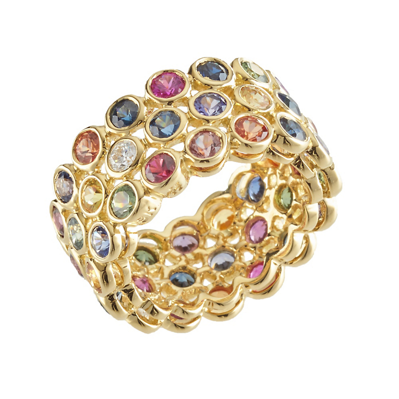 Aaron Henry Seasons Multi-Color Sapphire and Diamond Three-Row Band Ring