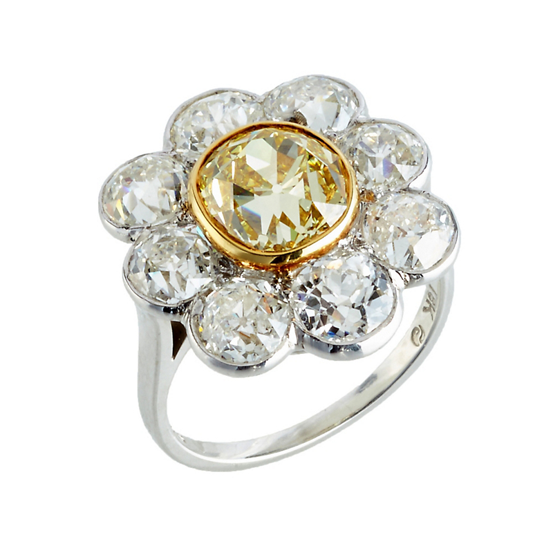 Estate Yellow and White Diamond Cluster Ring