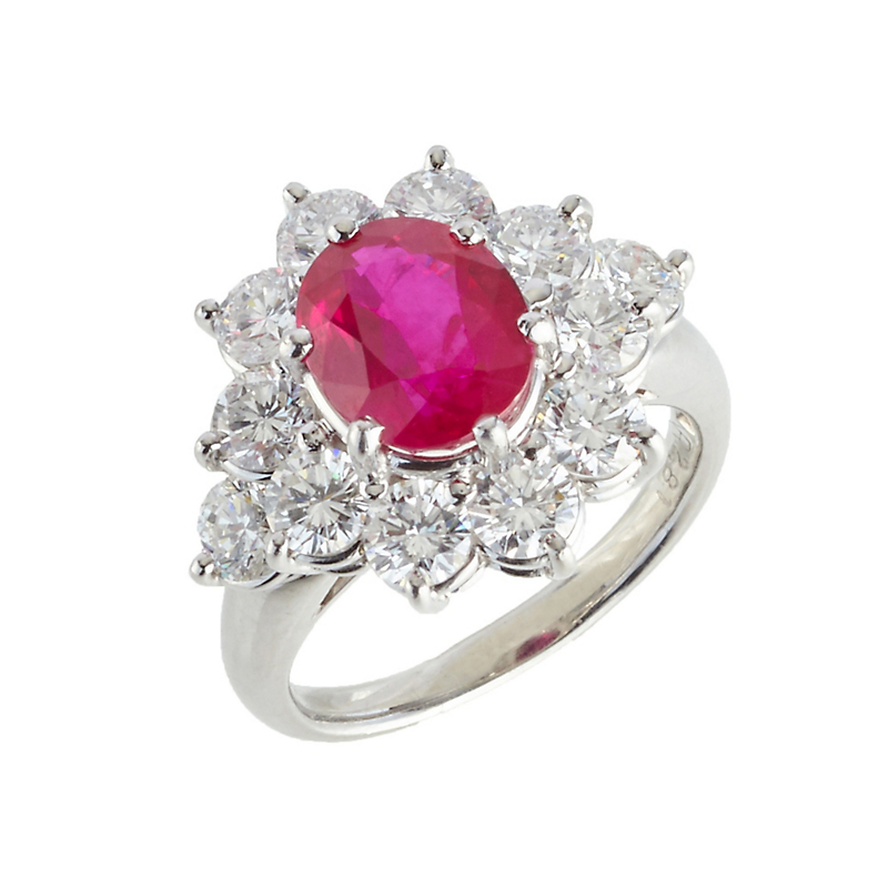 Estate Burmese Ruby and Diamond Cluster Ring