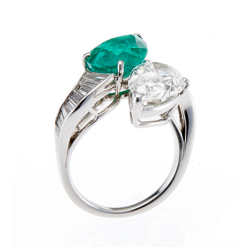 Estate Pear-Shaped Emerald and Diamond Platinum Bypass Ring