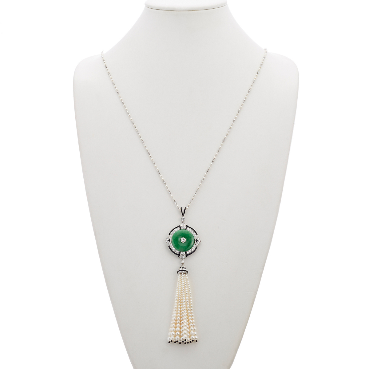 Cicada Green Jade, Akoya Pearl and Diamond Pendant Necklace