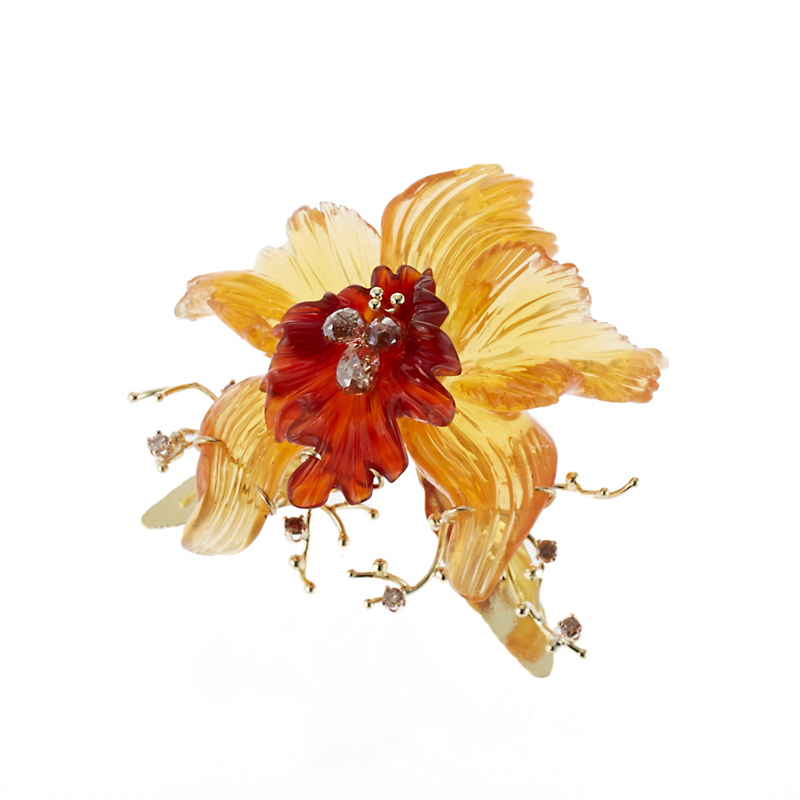 Russell Trusso Carved Orchid Brooch