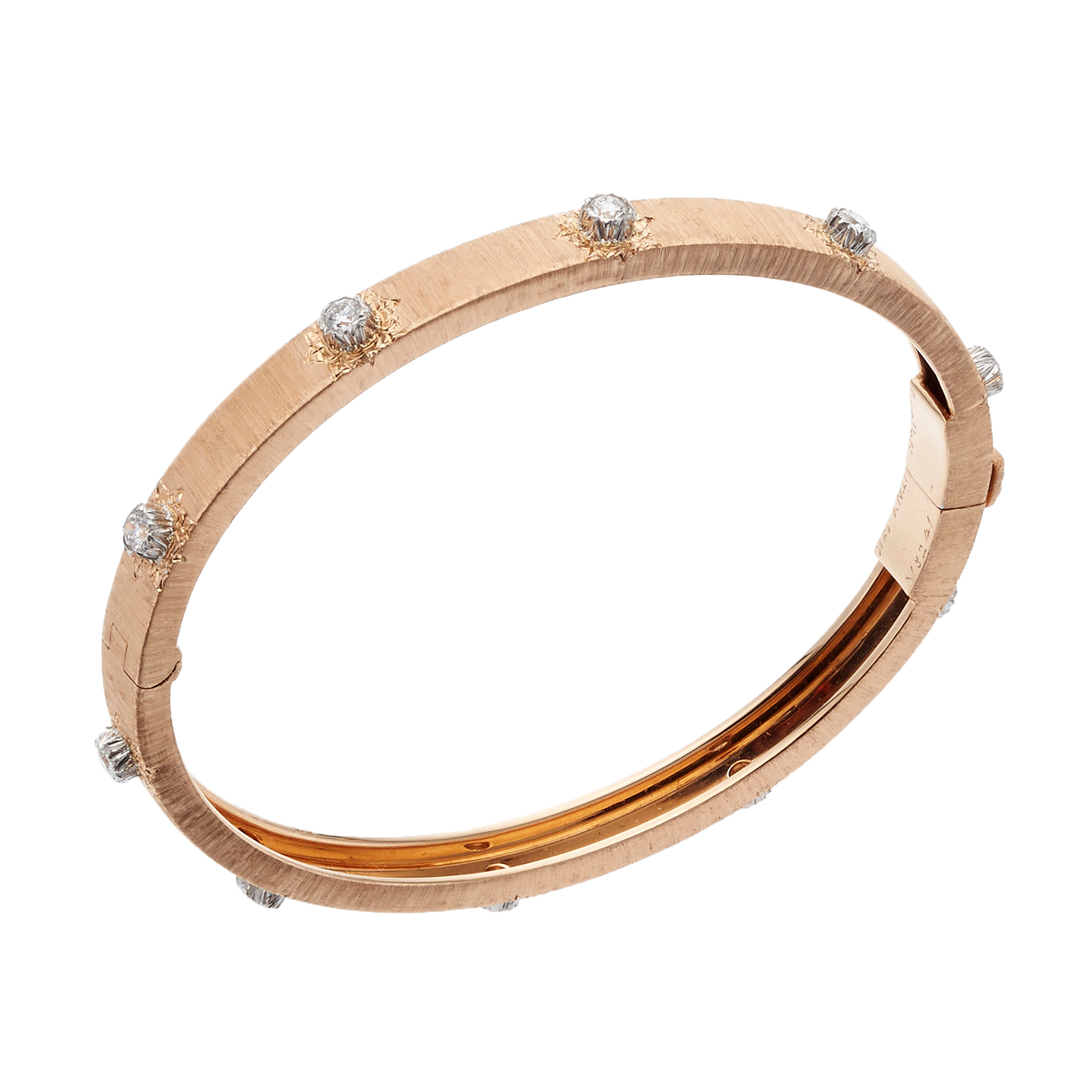 Buccellati Macri Pink Gold, White Gold and Diamond Hinged Bangle