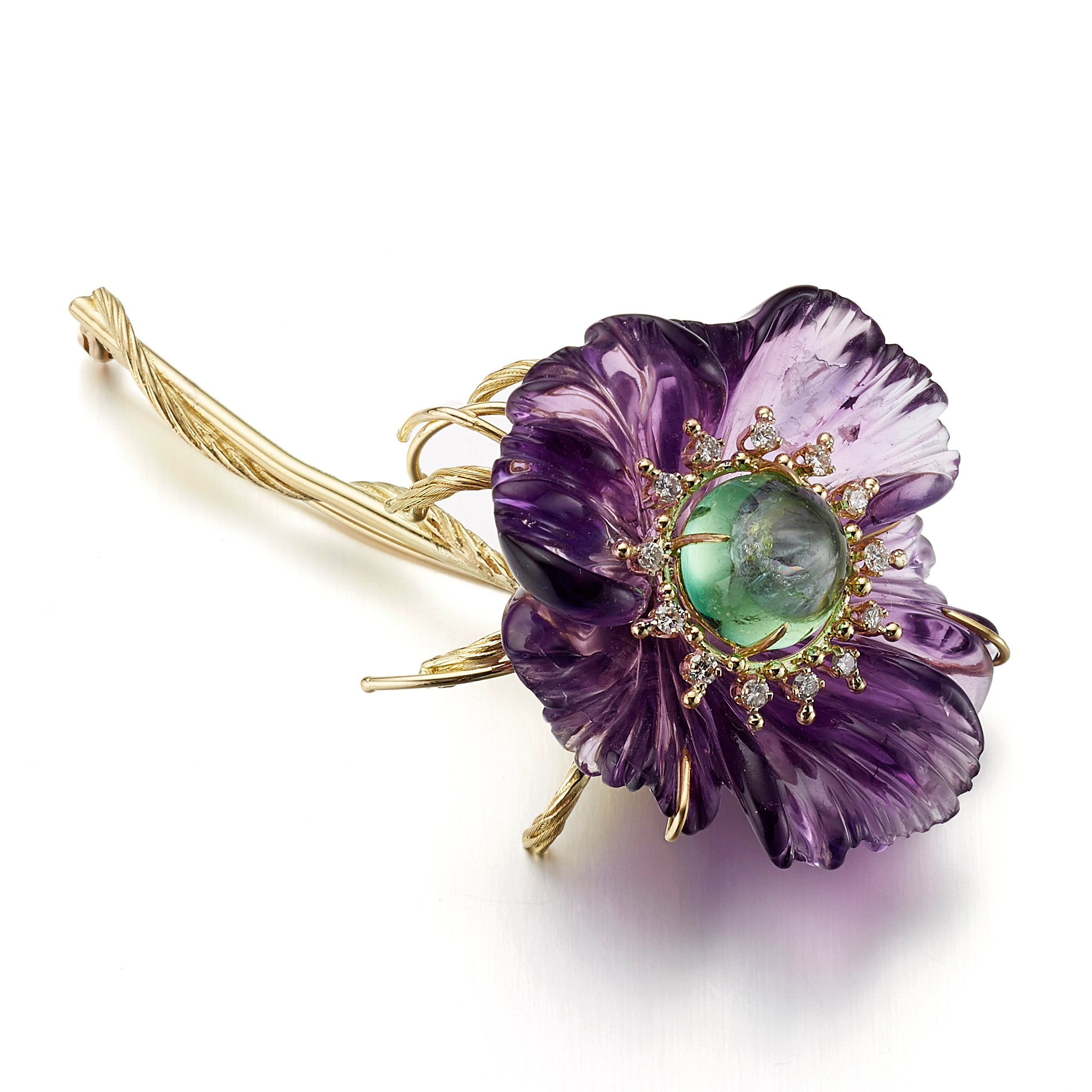 Russell Trusso Amethyst, Green Tourmaline & Diamond Flower Brooch
