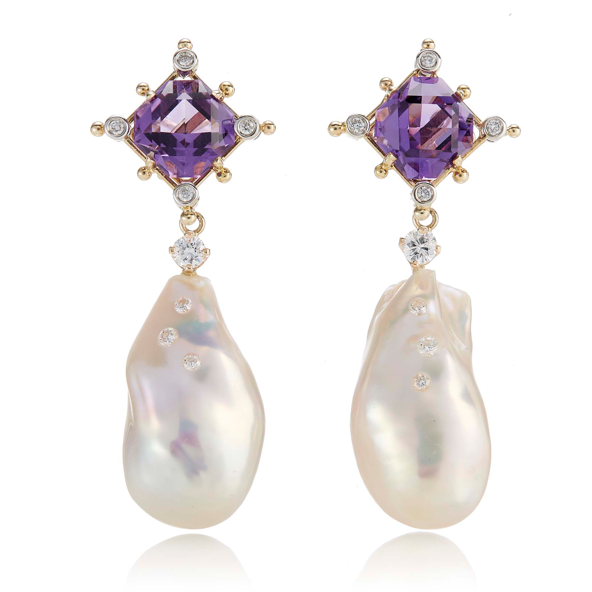 Russell Trusso Amethyst & Diamond With Baroque Pearl Drop Earrings