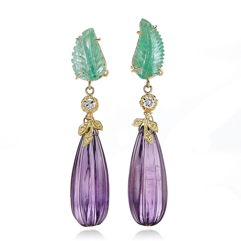 Russell Trusso Emerald Leaf With Amethyst Drop Earrings