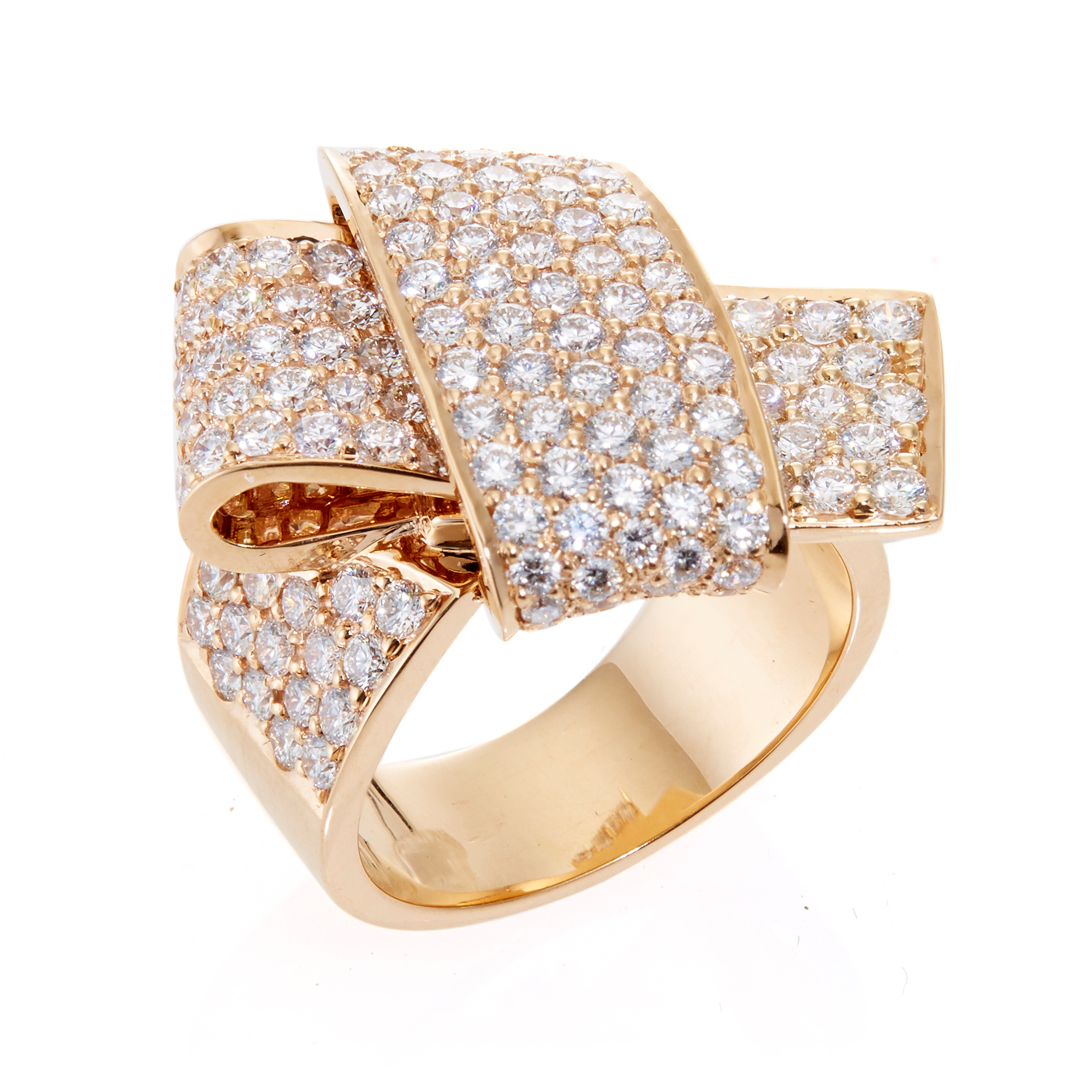 Carelle Pavé Diamond Rose Gold Jumbo Knot Ring