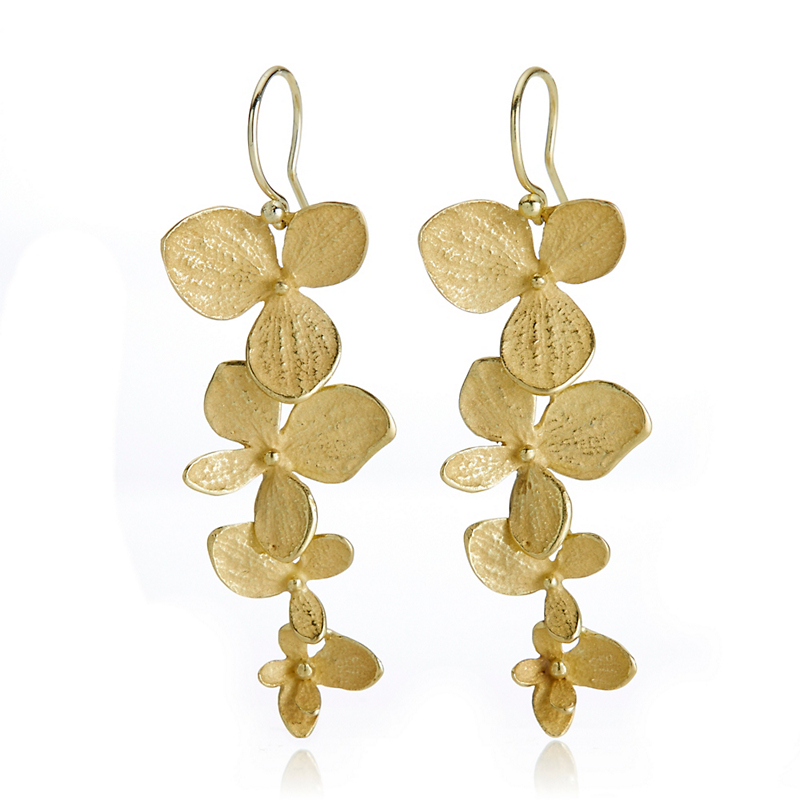 John Iversen Gold Hydrangea Drop Earrings