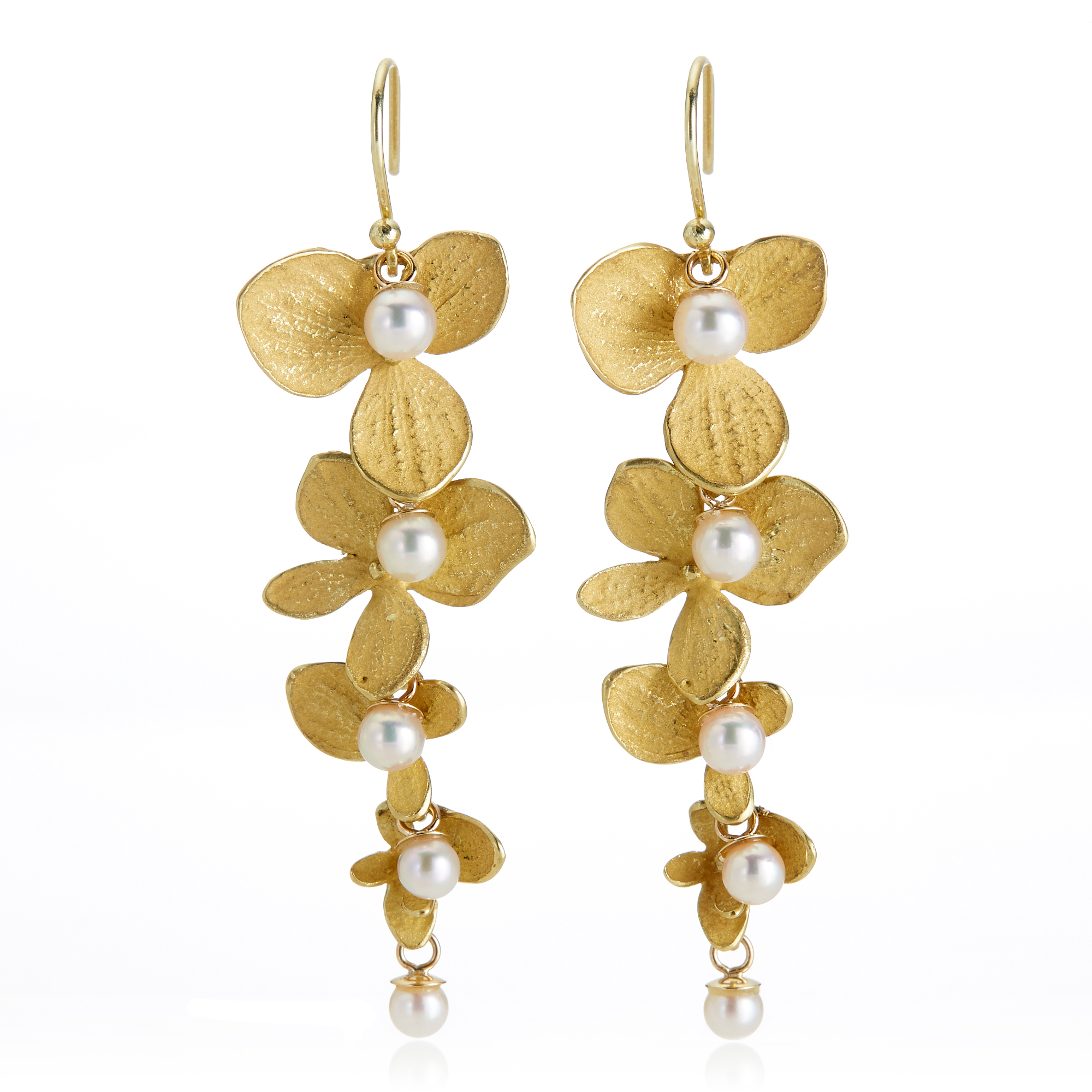 John Iversen Gold Hydrangea & Akoya Pearl Drop Earrings