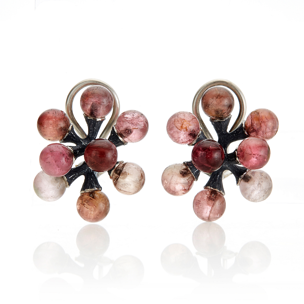 John Iversen Pink Tourmaline Oxidized Silver Jack Earrings