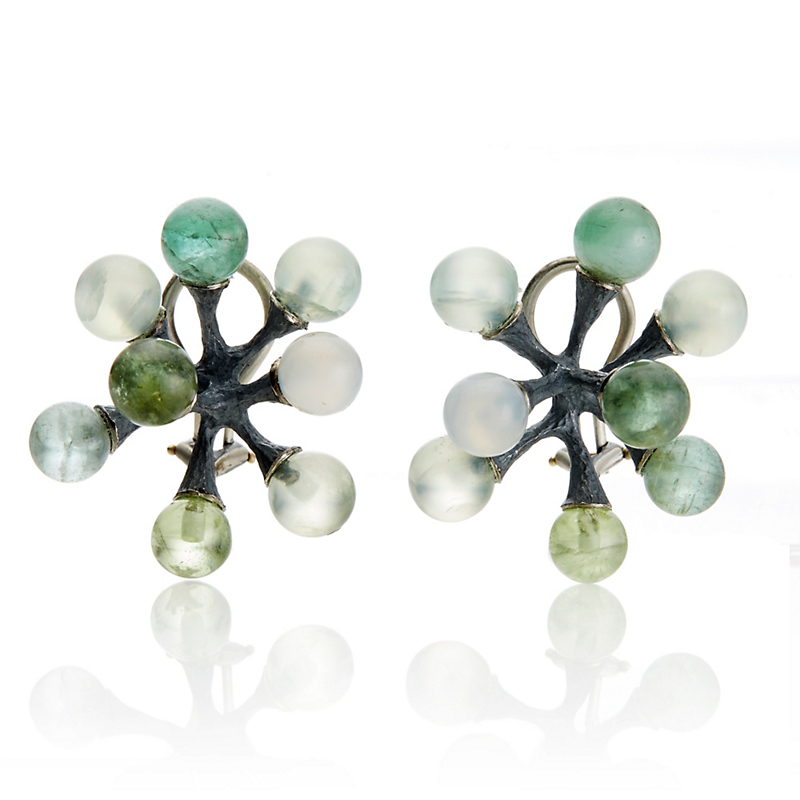 John Iversen Peridot, Phrenite, Tourmaline & Moonstone Large Oxidized Silver Jack Earrings
