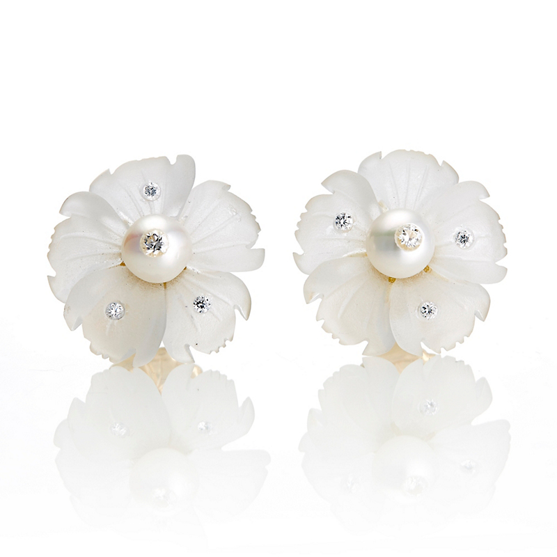 Russell Trusso Rock Crystal, Pearl & Diamond Flower Earrings