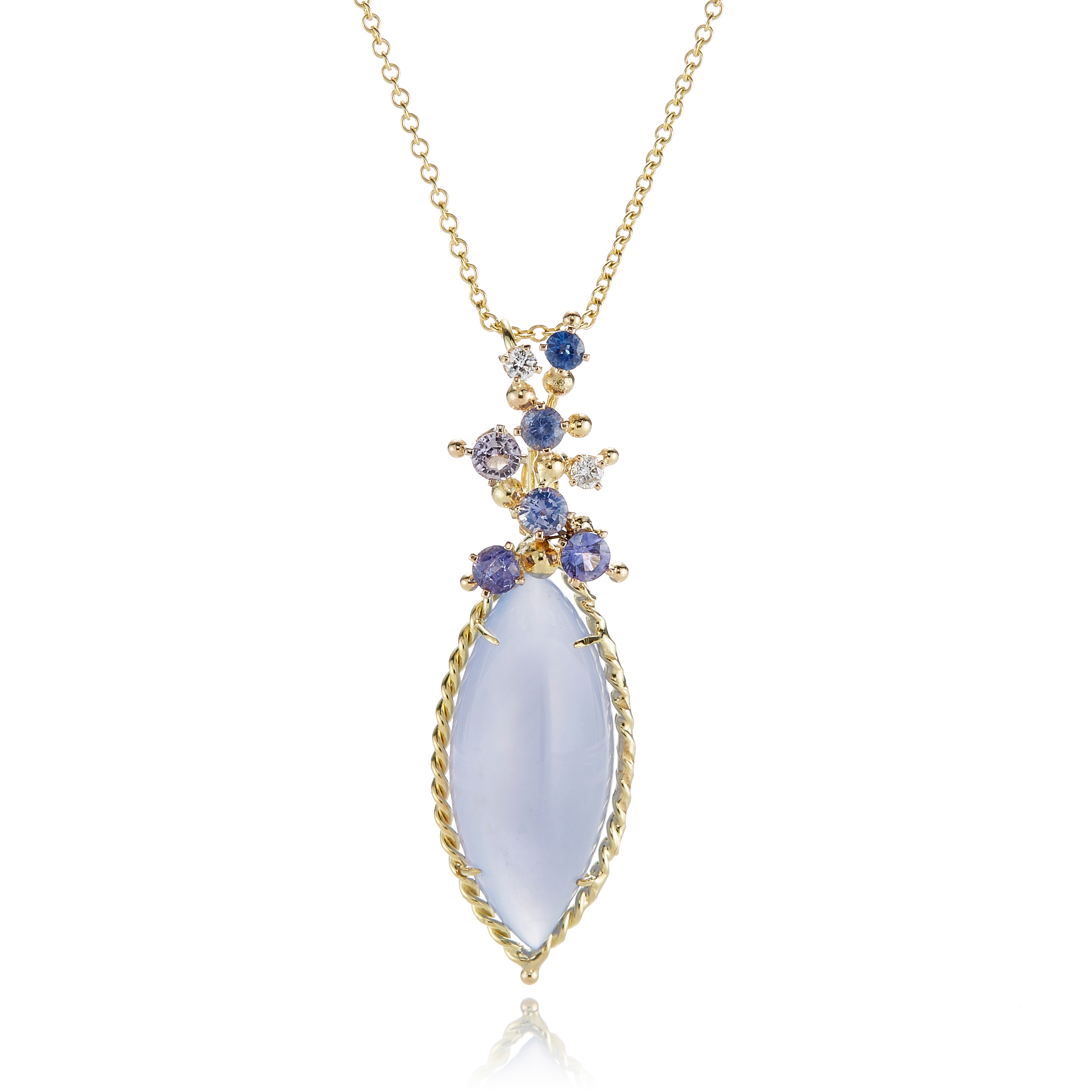 Russell Trusso Chalcedony Navette With Floral Cluster Necklace