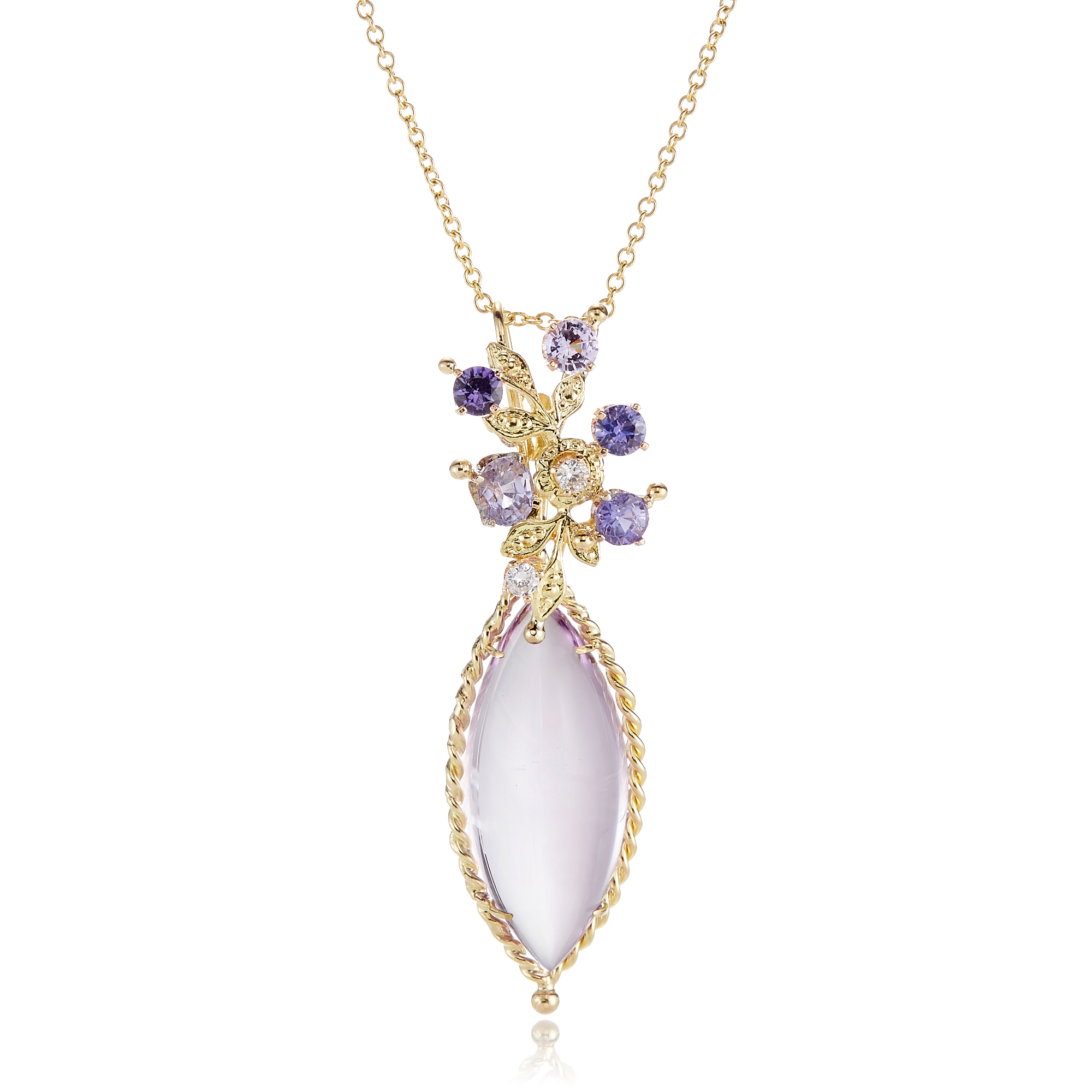 Russell Trusso Amethyst Navette With Floral Cluster Necklace