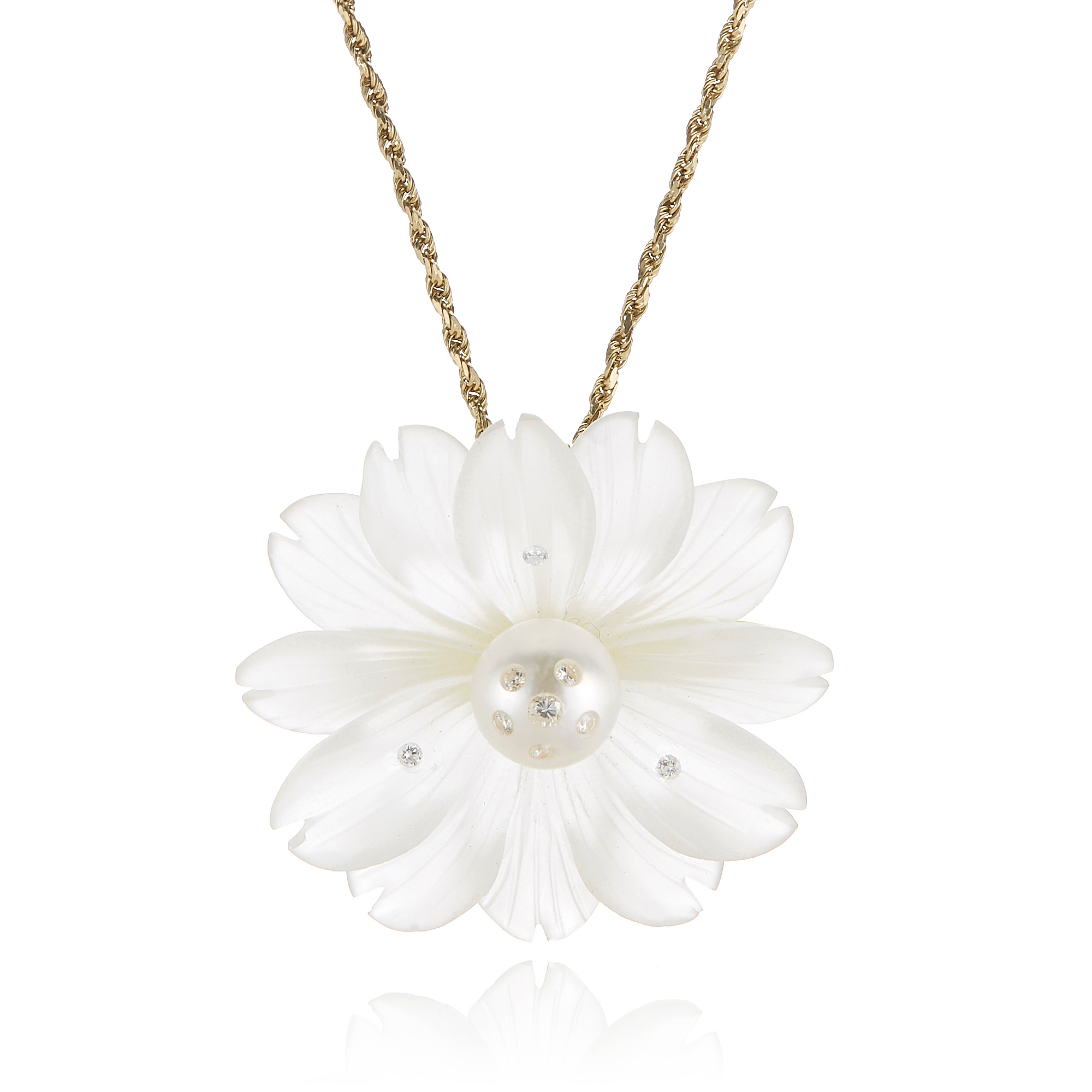 Russell Trusso Rock Crystal & Diamond Flower Pendant Necklace