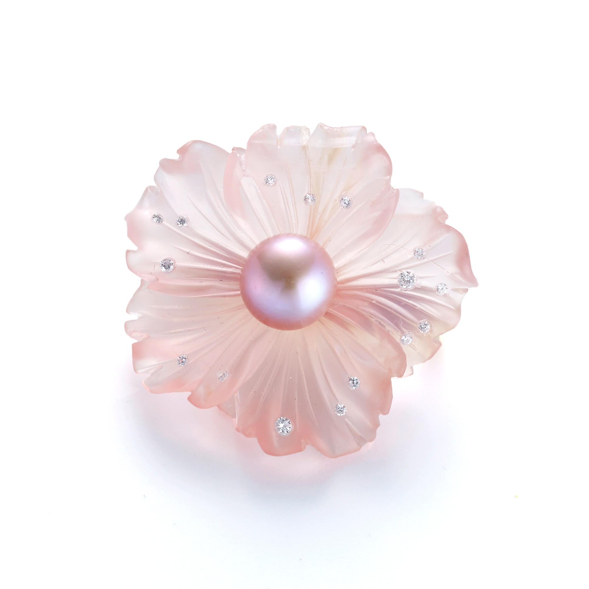 Russell Trusso Pink Pearl & Rose Quartz Carved Flower Brooch