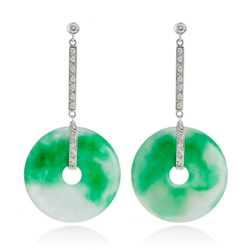 Estate Diamond & Moss Green Jadeite Drop Earrings