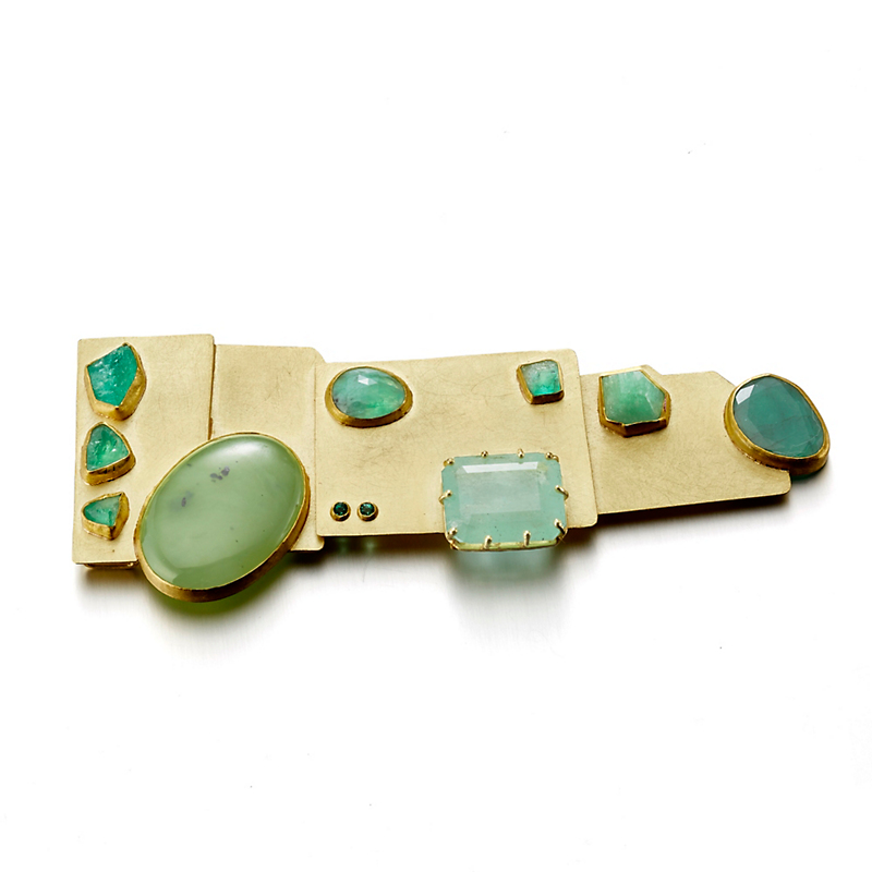 Petra Class Geometric Emerald and Jade Gold Brooch